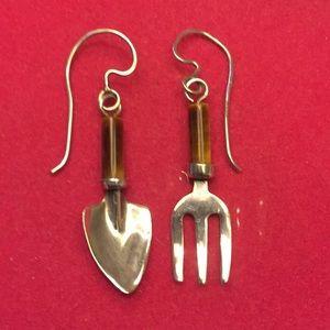 Jewelry - Sterling & Tigers Eye earrings